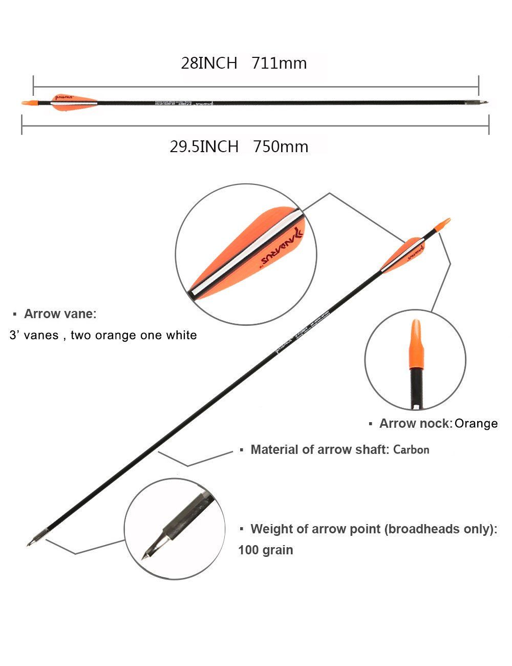 PANDARUS Archery 28'' Fiberglass Archery Target Practice Arrows, for Children, Woman or Beginner, for Recuve Bow(Pack of 12) … by PANDARUS (Image #5)