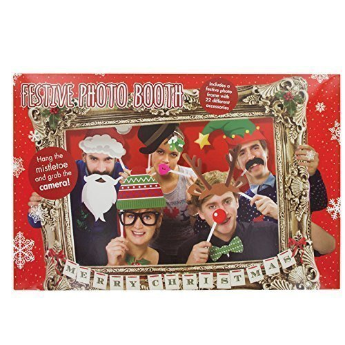 Festive Photo Booth Props with Card Frame -