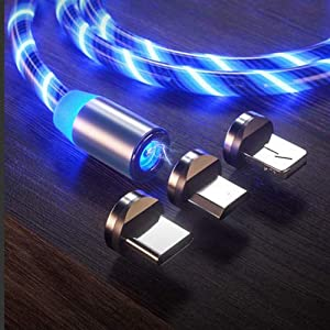 LED Flowing Magnetic Charger Cable 3 in 1 Type C Micro USB 6.6ft Light Up Party Shining Android Fast Charging Cord Compatible with i - Phone 11 Xs 8 Plus Samsung Galaxy S7 S8 S9 S10 Note 8 LG Huawei