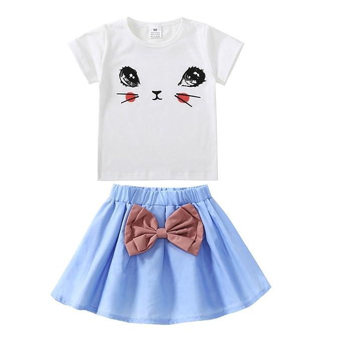 8cd8f16bb25349 JYJM2 stücke Kleinkind Baby Kinder Mädchen Kleidung Katze Tops T-shirt +  Rock Set Outfits