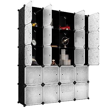 Langria 20 Storage Cube Organizer Wardrobe Modular Closet Plastic Cabinet Cubby Shelving Storage Drawer Unit