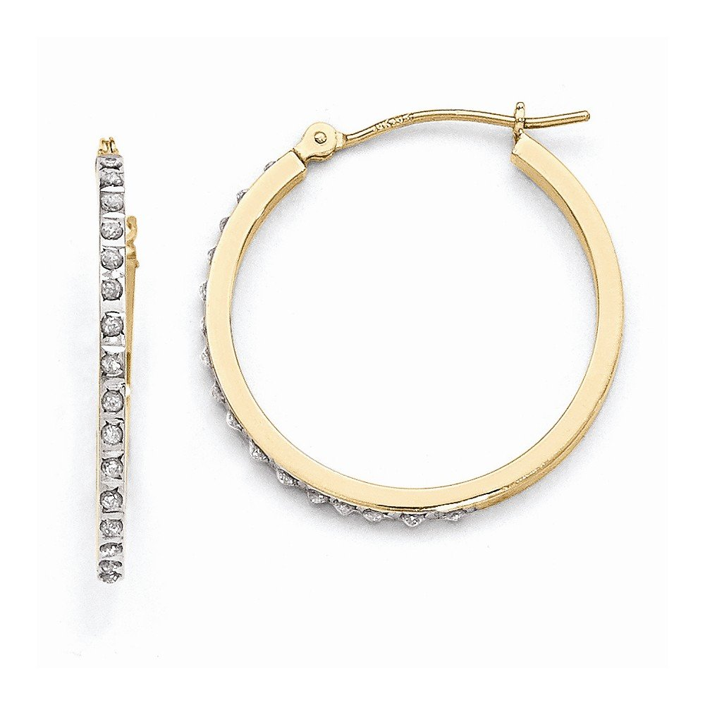 14k Yellow Gold Diamond Round Hinged Hoop Earrings w Gift Box. 2mm x 27mm (Color H-I, Clarity SI2-I1)