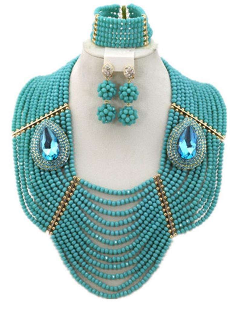 Soyagift 12layers TealGreen Crystal Beads Multi-style Brooche African JewelrySet by Soyagift