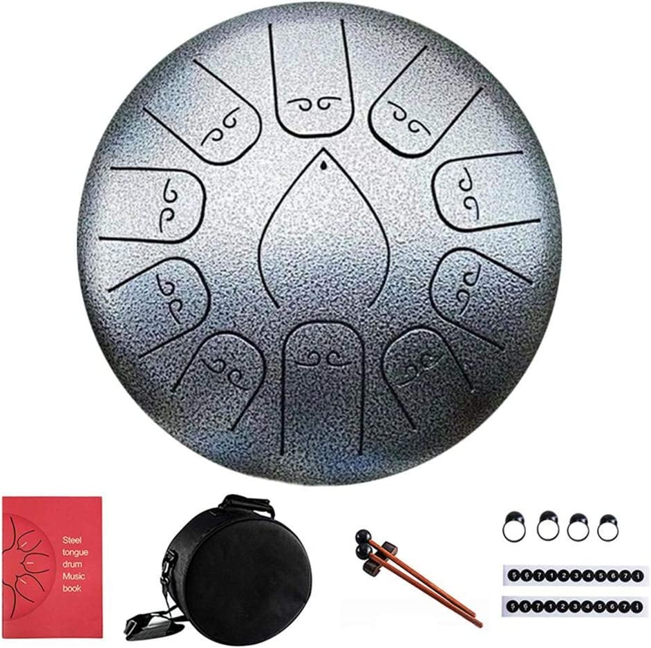 Prelobe 12 Inch 11 Notes Steel Tongue Drum Flower Style with Mallets Music Book Bag Percussion Instrument Silver