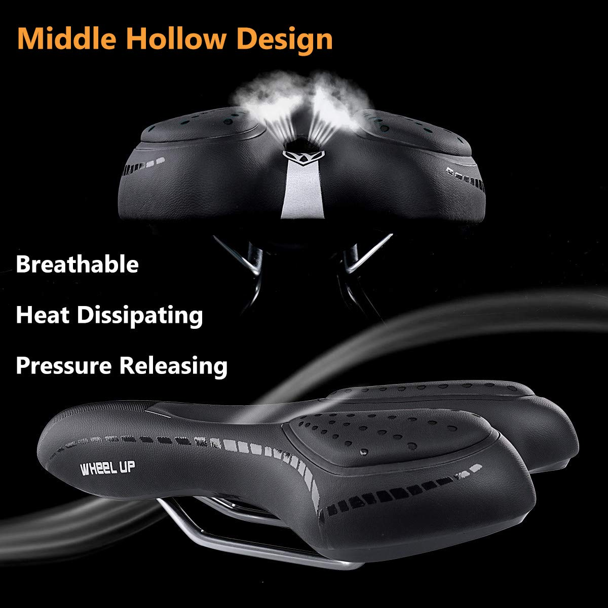 WHEEL UP Breathable Leather Padded Gel Cushion Bike Seat for Men Comfort Soft Memory Foam Women Narrow Bicycle Saddle Replacement for Outdoor Bikes