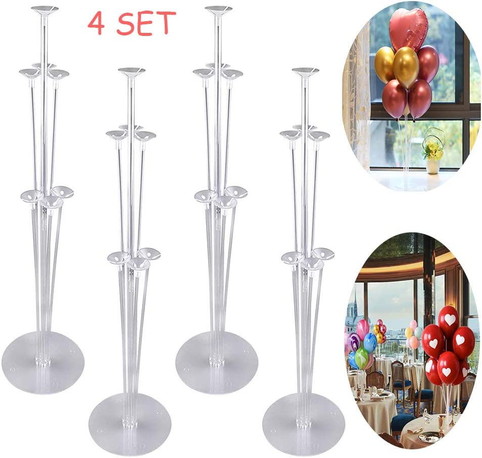 Balloon Tower Decoration Kit for Christmas New Year Birthday Party Wedding Parties Decojoy 4 Set Balloon stand Kits for Table Centerpieces Clear Base and Pole 2.8 Feet Height Adjustable