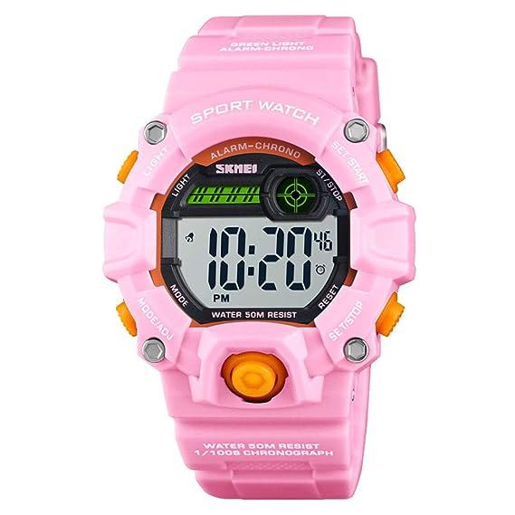 Reloj Digital Deportivo para niños y niñas, Resistente al Agua, 50 m, cronómetro