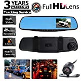 Car Dash Camera Dual Cam Vehicle Front Rear DVR Lens Video Recorder HD 1080P EM