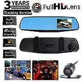 Car Dash Camera Dual Cam Vehicle Front Rear DVR Lens Video Recorder HD 1080P EM