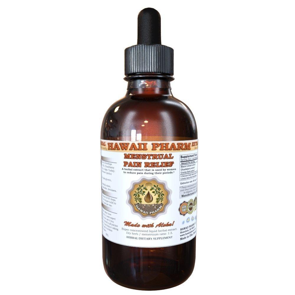 Menstrual Pain Relief Liquid Extract, Black Cohosh (Cimicifuga Racemosa) Root, Cramp Bark (Viburnum Opulus) Bark, Chasteberry (Vitex Agnus-Castus) Berry Tincture Supplement 4 oz