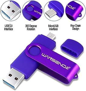 OTG USB Flash Drive WANSENDA 3.0 USB Memory Stick 256GB 128GB 64GB 32GB 16GB Pen Drive High Speed for Android/PC/Mac (16G, Purple)