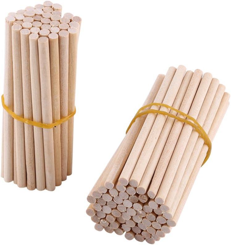 100 St/ück Holzst/äbe Holz Sticks 0,4 cm 80mm Runde Lollipop Lolly Geb/äude Modell Hausgarten