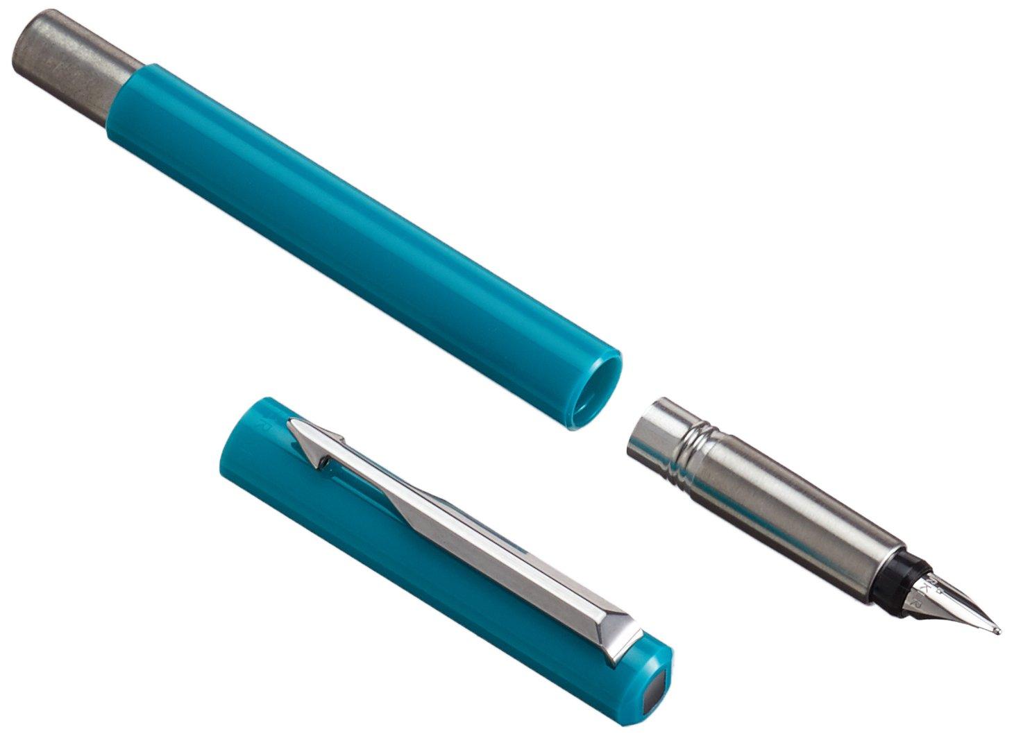 PARKER encre bleue effa/çable 2025895 Pointe Moyenne Coffret Cadeau+ Quink 10 cartouches longues Vector Stylo Plume Encre Bleue /Émeraude avec Attributs Chrom/és