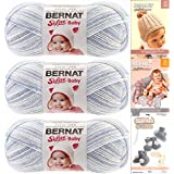 Bernat Softee Baby Yarn 3 Pack Bundle Includes 3 Patterns DK Light Worsted ( Blue Flannel ) 31129