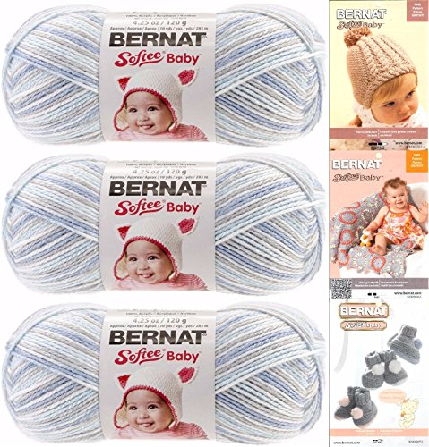 Bernat Softee Baby Yarn 3 Pack Bundle Includes 3 Patterns DK Light Worsted ( Blue Flannel ) (Baby Dk Pattern)