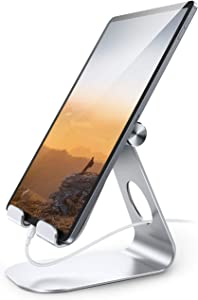 Tablet Stand Adjustable, Lamicall Tablet Stand : Desktop Stand Holder Dock Compatible with Tablet Such as iPad Pro 9.7, 10.5,12.9 Air Mini 4 3 2, Kindle, Nexus, Tab, E-Reader (4-13'') - Silver