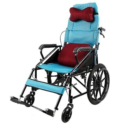 ZDY Carro Plegable, Ultraligero, para Discapacitados, Silla de Ruedas de Aluminio, Silla
