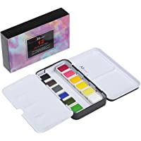 MEEDEN 12 Colours Watercolour Paint Set Portable Half Pan Size Metal Watercolour Tin Pocket Box for Field Sketch Outdoor Painting for Artists, Students and Beginners
