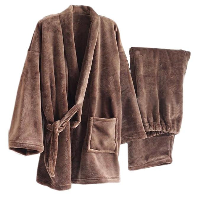 Espesar la bata de Kimono de franela de los hombres Kimono traje de pijamas- # 03: Amazon.es: Ropa y accesorios