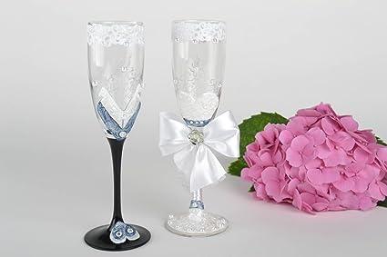 Copas de boda hechas a mano vasos de cristal copas decoradas para boda