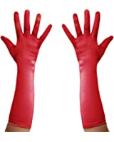 Long Satin Evening Gloves - Red