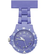 JSDDE Women's Girls' Fashion Nurse Clip-on Fob Brooch Lapel Hanging Pocket Watch, Purple
