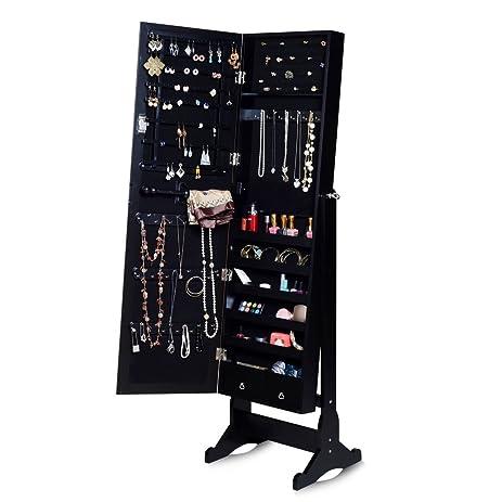 Amazoncom Organizedlife Black Floor Standing Mirrored Jewelry