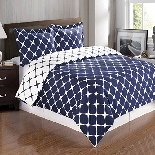Deluxe Reversible Bloomingdale Duvet Cover Set, 100% Cotton 300 Thread Count Bedding, woven with superior single-ply yarn. 2 piece Twin / Twin Extra-Long Size Duvet Cover Set, Navy and White