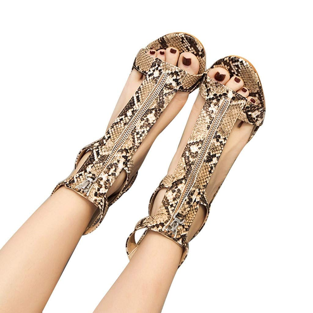 Sandals For Women Bummyo Ladies High Heel Zipper Snake Sandals Thick Heel Open Toe Sandals Women Square Casual Party Shoes(8M US, Brown)