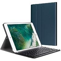 Fintie Bluetooth Tastatur Hülle für iPad 9.7 Zoll 2018 2017 / iPad Air 2 / iPad Air - Ultradünn leicht Ständer Keyboard Case mit magnetisch Abnehmbarer drahtloser Deutscher Tastatur, Marineblau