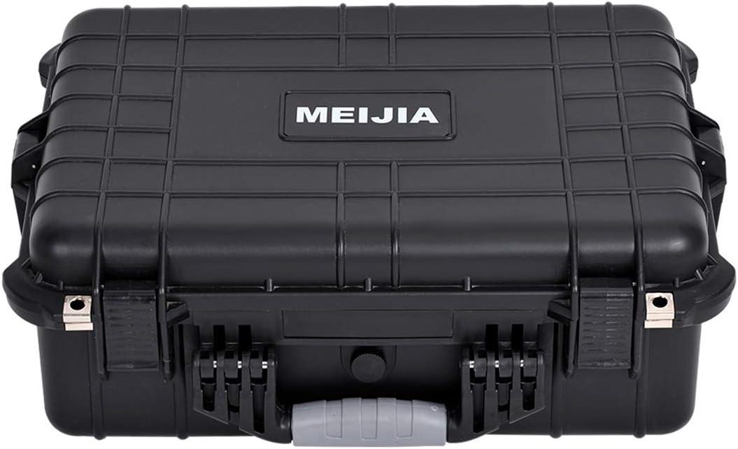 19.78X15.77X7.41 Elegant Black MEIJIA Portable Waterproof Safety Protection Case,Foam Inserted