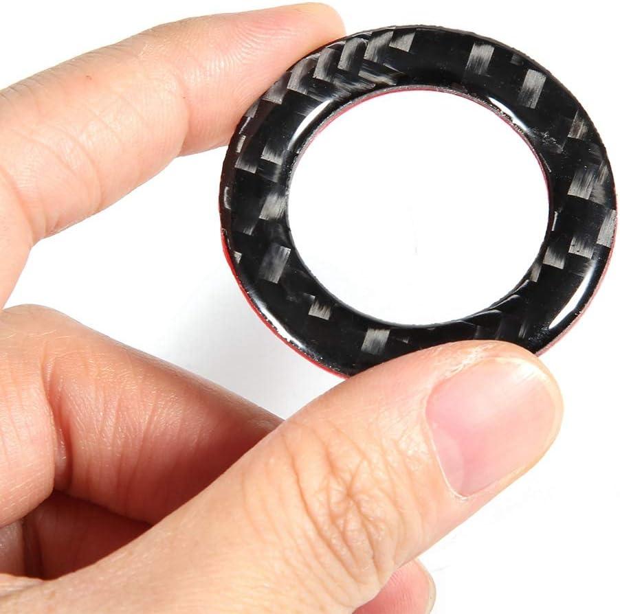 Aramox Engine Start Button Cover Trim,Carbon Fiber Engine Start Button Frame Cover Trim Fit for Infiniti Q50//Q60 14-18