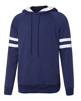 MODCHOK Herren Sweatshirt Hoodie Stripe Sleeve Langarmshirt  Kapuzenpullover  Amazon.de  Bekleidung e1aac6f905