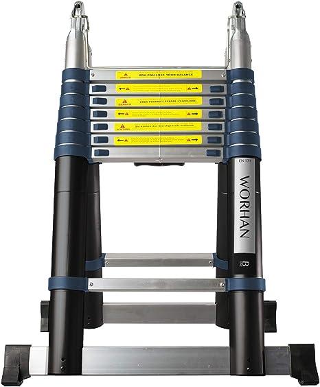WORHAN® 5m Escalera Doble Telescopica PRO Multiuso Multifuncional Plegable Tijera Aluminio Anodizado Nueva Generación Calidad Alta 500cm K5B: Amazon.es: Bricolaje y herramientas