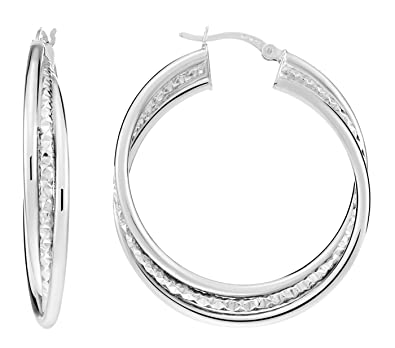 c6e67a44f Amazon.com: Sterling Silver Polished and Textured Triple Hoop Earrings (1.5  inch Diameter): Jewelry