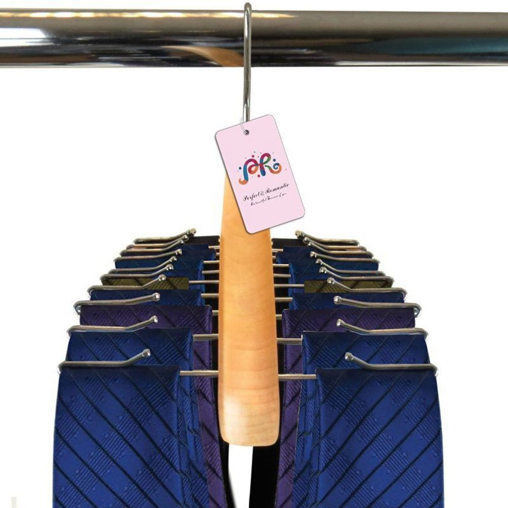 P& R Premium Quality Wooden Tie Hanger For Men Scarves For Women Rack Organizer - Holds 24 Ties-Gift Idea (1)