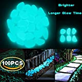 CCOQUS 100 Pcs Brighter Glow in the Dark Garden Pebbles,Decorative Glowing Stones for Walkway Yard ,Fishbowl and Decor