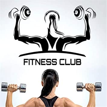 Hjcmhjc Club De Fitness Gimnasio Mancuernas Etiqueta Chica Decal Body-Building Posters Vinilo Tatuajes De Pared Decoración De La Pared Etiqueta De Gimnasio ...