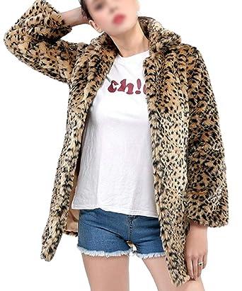 40a5114694a9 Domple Women Open Front Leopard Print Outwear Faux Fur Long Jacket Coat at  Amazon Women's Coats Shop