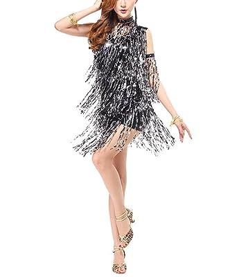 20s era fringe embellished halloween christmas party dresses costumes black x large