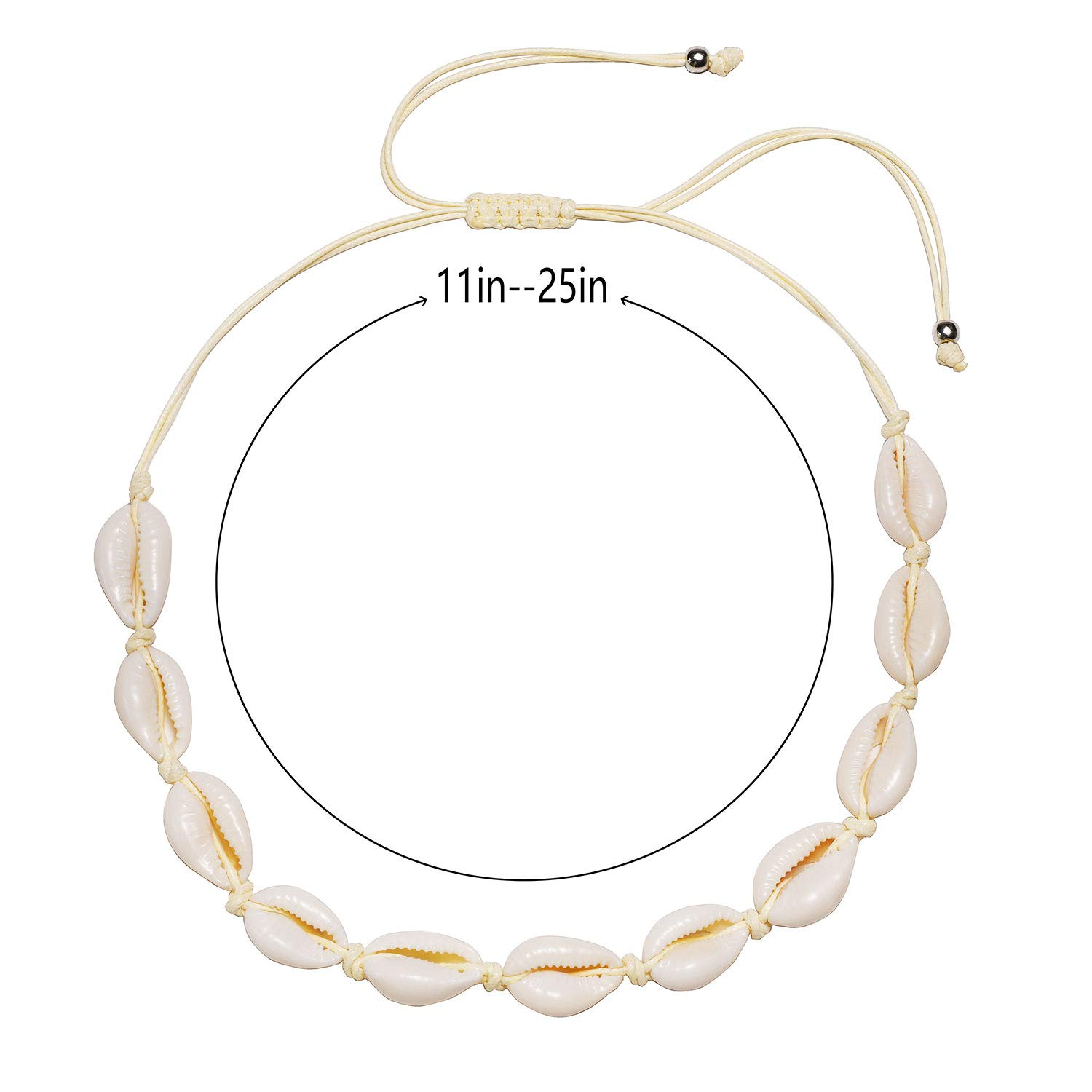 TKUAMIGO Shell Choker Necklace for Women Adjustable Natural Seashell Necklace Handmade Cowrie Shell Clavicle Necklace Beach Boho Jewelry
