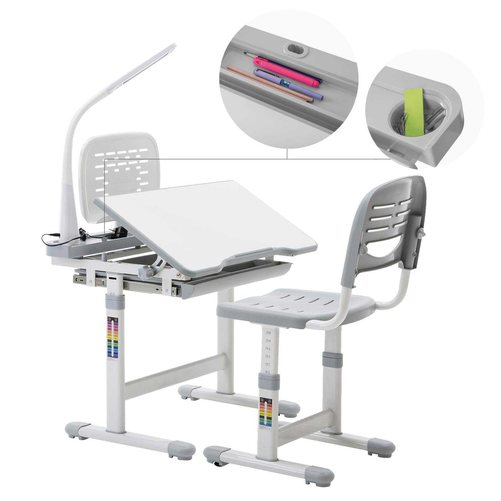 Mecor Kids Desks,Children Desk and Chair Set Height Adjustable,Childs School Student Sturdy Table w/Lamp Pull Out Drawer Storage,Pencil Case,Bookstand Grey