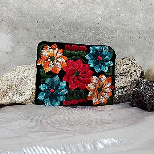 velvet wallet hand-embroidered Burgundy Coffin coin purse Small Pouch