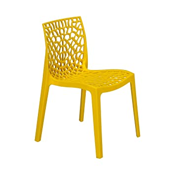 grandsoleil upon gruvyer chaise empilable polypropylne brillant jaune 51 x 52 x - Chaise Empilable
