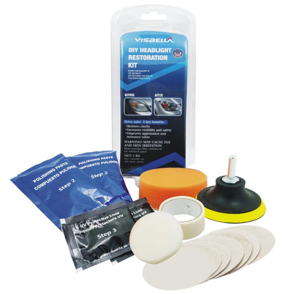 DIY Kit de restauration de phare lampe frontale, outils de nettoyage de lentille, Excellent pour Amé liorez l'apparence du vé hicule Excellent pour Améliorez l' apparence du véhicule Zantec