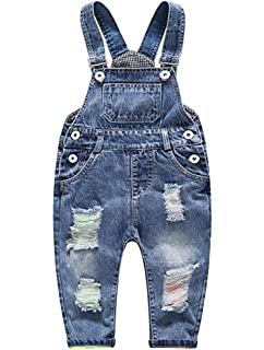 a31d645a779 ARAUS Dungarees Denim Bib Overalls Baby Boy Girl Ripped Holes Jeans Strap Jumpsuit  Pants Outfits…