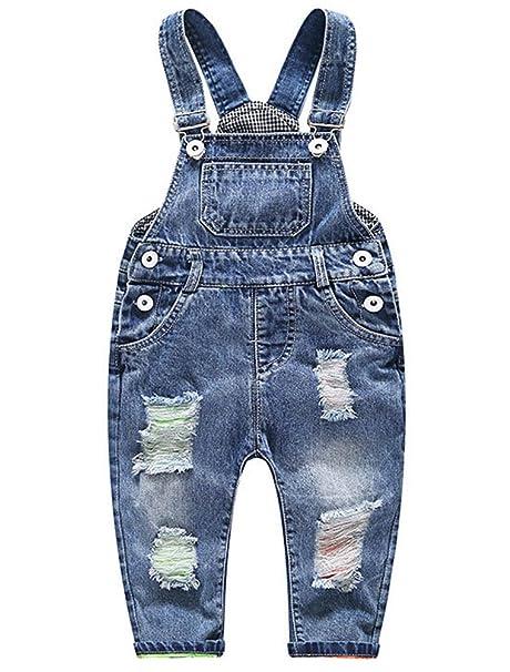 631a5040db ARAUS Bebé Pantalones de Peto Largos Mono Vaquera Overalls Roto Jeans Pants  para Niños Pequeños Primavera