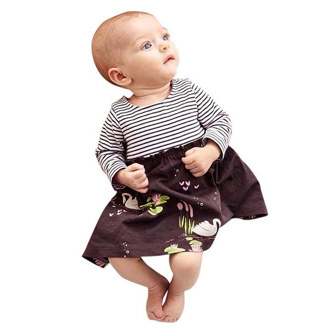 Gusspower Vestido de Niña, Floral Rayas Vestido de Princesa Vestido Bautizo Bebé Niñas Vestidos de