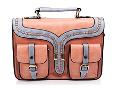 ccd71fee5e0f UONBOX Women s Leather Retro Briefcase Satchel Messenger Bag Crossbody Bag  Pink