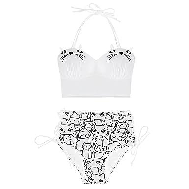 958759dc42 Amazon.com: ZAFUL Women's Plus Size Cartoon Cat Print Halter Tie Full Brief Bikini  Set: Clothing